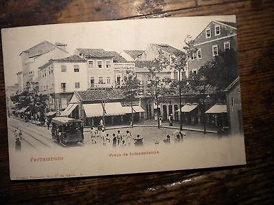Scarce-Unused-1900S-Postcard.perbambuco-Brazil-Praca Da Independencia