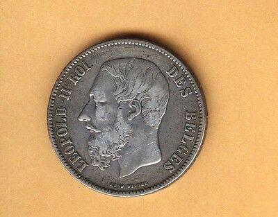 Coin Belgium Silver Crown 5 Francs Choice F+ 1870 Free Shipping Usa Only