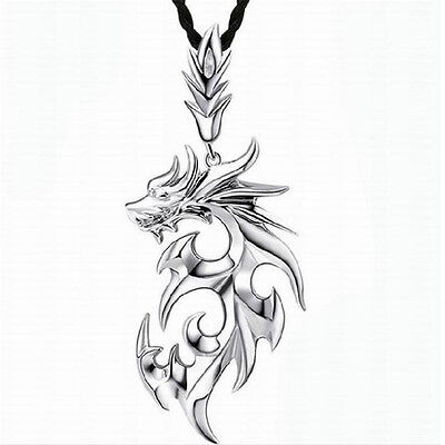 Vintage Silver Stainless Steel Dragon Pendant Men's Leather Chain Necklace Gift