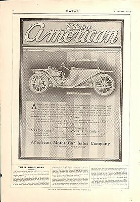 1908 American Roadster/stearns Light Touring 2 Sided Orig Vintage Car Ad