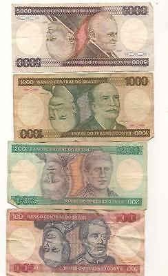Four 1980's Brasil Cruzeiros World Currency Bank Notes; 100,200,1000 & 5000