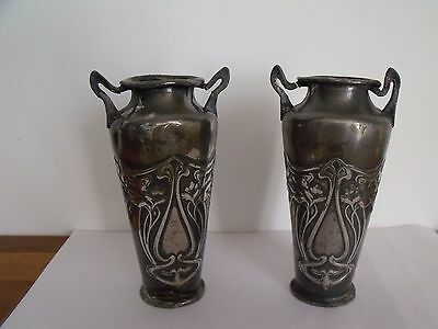 WMF PAIR OF ART NOUVEAU SILVER PLATE PEWTER VASES A/F circa 1900 Antique Finish