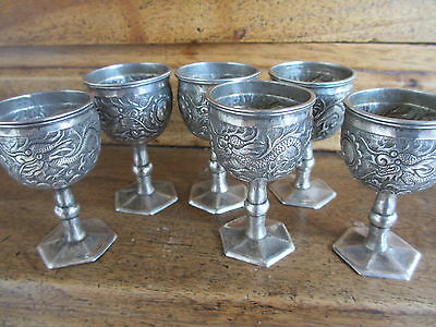 6 verres en Argent massif période Indochine  Chine  - Silver chinese glass
