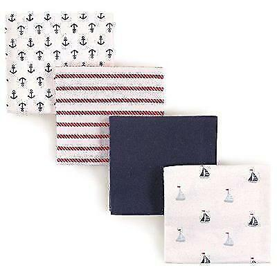 Luvable Friends 4 Piece Flannel Receiving Blankets, Sailboat New
