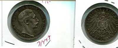 Germany 1910 3 Mark Silver Coin  Vf 7144J