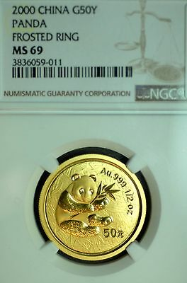 Rare Date NGC MS69 2000 50 Yuan 1/2 oz .999 Gold Chinese Panda Coin Frosted Ring