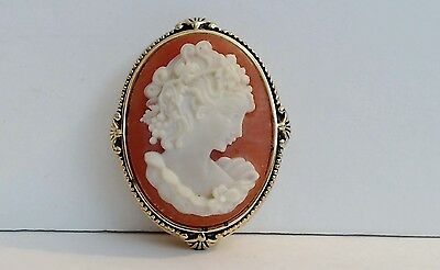 Estee Lauder Solid Perfume compact Coral Cameo Detailed Woman Figure Full YD VTG