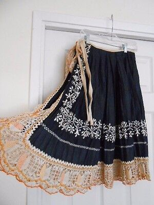 """European Antique Folk Costume SKIRT Hand Embroidered Pleated 4"""" Lace"""