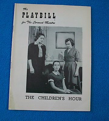 "Playbill ""The Children's Hour"" 1953 Coronet Theatre NYC Kim Hunter Patricia Neal"