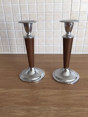 Lovely Pair of Ianthe Silver Plated & Wood Effect Candlesticks