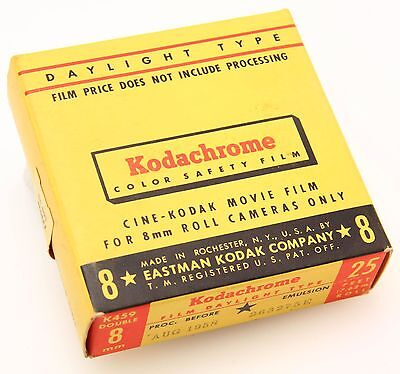 Kodachrome 25 Double 8mm Daylight film, 25 ft , sealed, exp 1958#357666