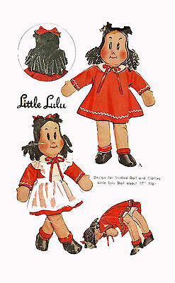 "Little LuLu 17"" doll with clothing WWII era 1940s PATTERN 1447 a Comic Girl doll"