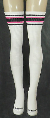 Black/B.Gum Pink Striped Thigh High Tube Socks 35-1