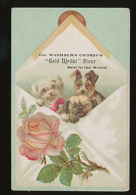 Victorian Trade Card -  Washburn Crosby's GOLD MEDAL FLOUR - Dogs - Minneapolis