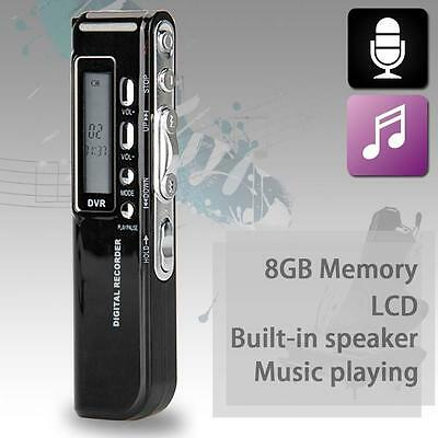 Rechargeable 8GB Digital Audio Voice Recorder USB Dictaphone MP3 Player WAV LN