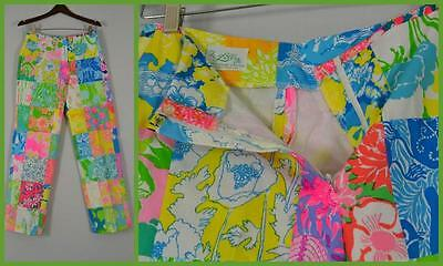 The Lilly Pulitzer M patchwork floral pink orange green MOD 60's pants PREPPY