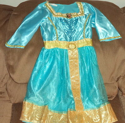 "Blue w/ Gold Trim Little Girls ""Brave"" Costume Dress Size 6-8"