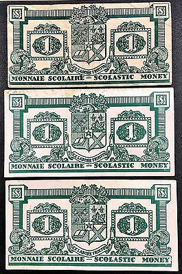 Lot Of 3 Canadian 1 Monnaie Scolaire / Scolastic Money Notes - Free Combined S/h