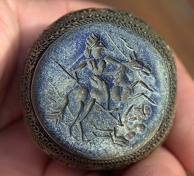Stunning GIANT Very Old Lapis Lazuli Intaglio Stone Medieval Bronze Ring-