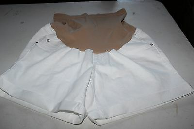 Indigo Blue White Denim Maternity Shorts Size Medium Panel Not Band