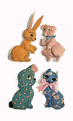 "4 Stuffed Animal Toys Bunny Cat Dog Pig 1950s PATTERN 2025 Rabbit 8.5"" Cat 9"""