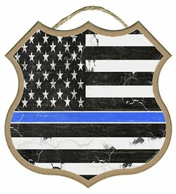 THIN BLUE LINE Shield Shaped US FLAG subdued 10X10 Wood Sign Blackwater police