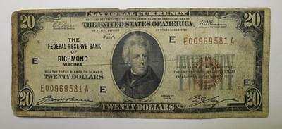 1929 Series U.S. $20 National Currency * The Federal Reserve Bank Of Richmond VA