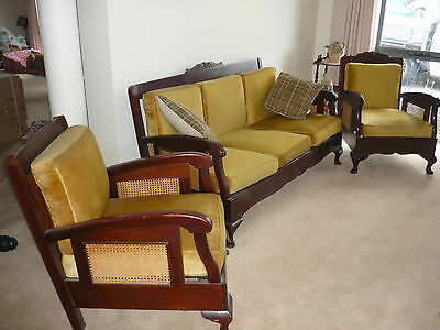Antique Restored Jacobean Cane Sided Lounge Suite - p/u Vic.