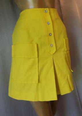 SUNSHINE YELLOW COTTON Vintage 1960s MOD SKIRTED Wide Leg SHORTS - SM / XS