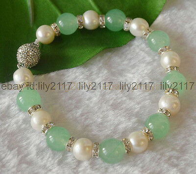 9-10mm Genuine White Cultured Pearl & Natural Green Emerald Round Beads Bracelet