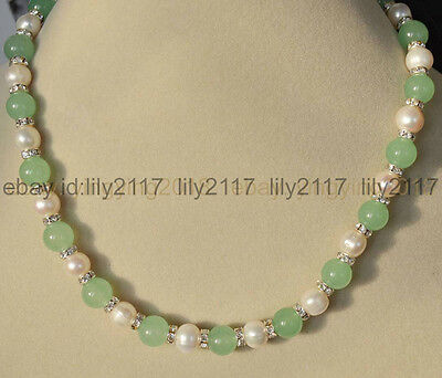 9-10mm Genuine White Cultured Pearl & Natural Green Emerald Round Beads Necklace