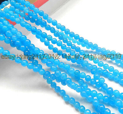 """Natural 4mm South African Blue Topaz Gems Round Loose Beads 15"""" AAA"""