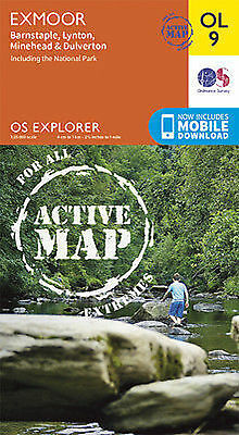 OL9 Exmoor LAMINATED ACTIVE Ordnance Survey Explorer Map OL 9