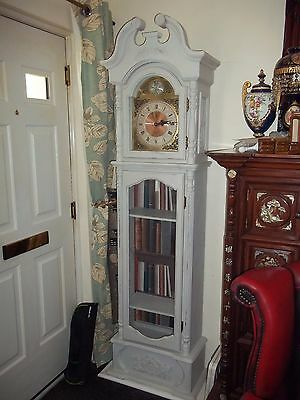 Lovely Shabby Chic Grandfather Clock/display Shelves