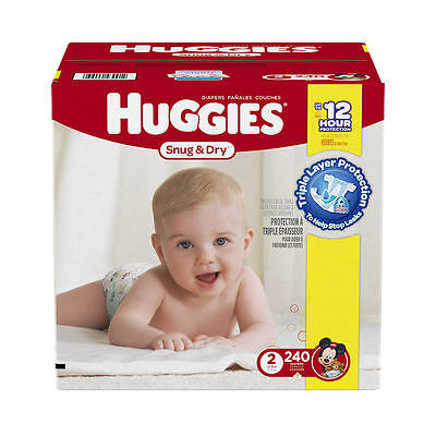 New Huggies Snug and Dry Size 2 Baby Disposable Diapers - 240 Count