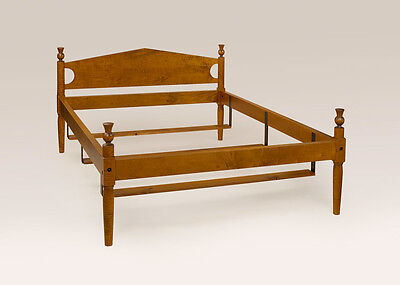 Full Size Country Style Bed Frame Tiger Maple Wood Quality Made in USA Furniture