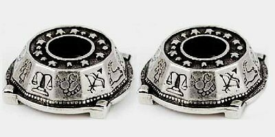 """2 x Pewter Zodiac Candle Holder for 1/2"""" Diameter Chime Candles (Rituals Altar)"""
