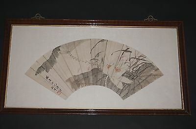 Fine Antique Chinese Hand Painted Watercolor Fan Leaf Painting Calligraphy Seal