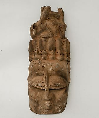 """Large Antique 19"""" Carved Wood ASIAN BUDDHA HEAD Wall Mask CHINESE / THAI"""