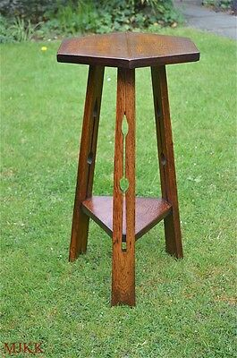 Arts and Crafts solid oak lamp table pierced cut out legs Liberty style