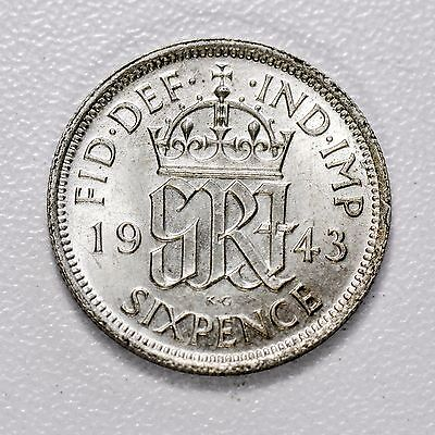 GB GEORGE VI SILVER SIXPENCE - 1943 ++ TOP-GRADE UNC CONDITION!! ++ [1943-6d]