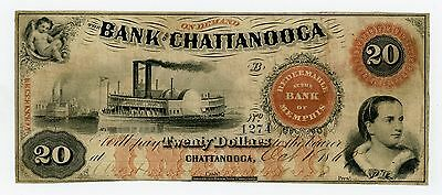 1860 $20 The Bank of Chattanooga, TENNESSEE Note w/ SHIPS