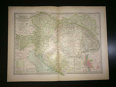 1897 Map of Empire of Austria-Hungary Budapest -The Century Atlas Ben Smith #89