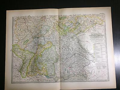 1897 Map of German Empire Southwestern Part - The Century Atlas of the World #86