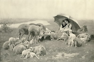 Antique c19th Old Art Print SHOWER OF RAIN Victorian Children Sheep Lamb Parasol
