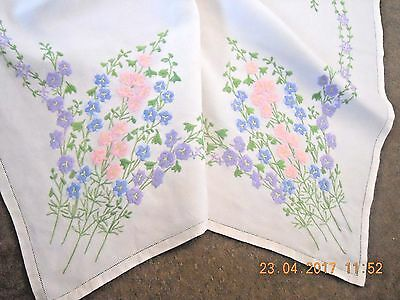 Lovely Vintage antique embroidery embroidered linen tablecloth larkspur flowers