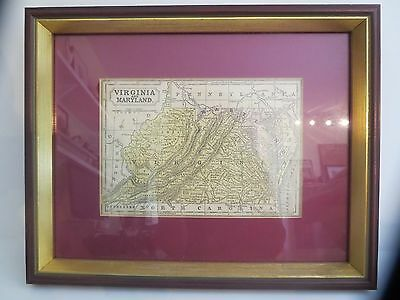 Antique Authentic Hand Colored Map Virgiia and Maryland c. 1853 Framed