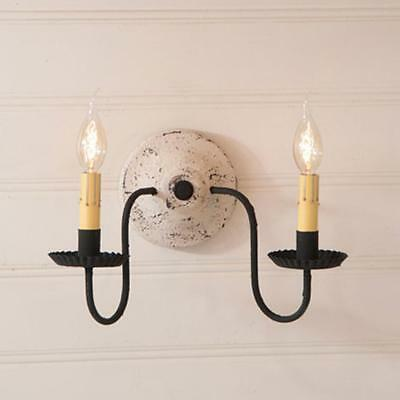 Primitive new Vintage White  ASHFORD double arm wall sconce light / nice