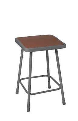 NATIONAL PUBLIC SEATING 6330 Stool, Square, Steel, Gray, 30 In. H