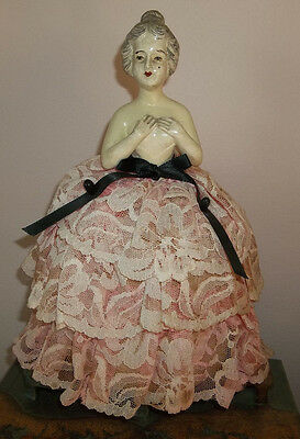 """Lovely Vtg Antique Half Doll Pin Cushion - Large 10"""" Tall (Doll is 5"""")"""